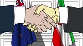 diplomat : Businessmen or politicians shake hands against flags of New Zealand and Iran. Official meeting or cooperation related cartoon animation Stock Footage