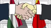 desenhada à mão : Businessmen or politicians shake hands against flags of Hungary and China. Official meeting or cooperation related cartoon animation