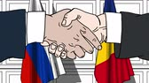 desenhado : Businessmen or politicians shake hands against flags of Russia and Romania. Official meeting or cooperation related cartoon animation
