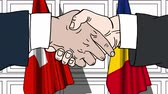 рукопожатие : Businessmen or politicians shake hands against flags of Switzerland and Romania. Official meeting or cooperation related cartoon animation