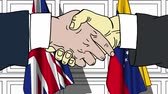 diplomat : Businessmen or politicians shake hands against flags of Great Britain and Venezuela. Official meeting or cooperation related cartoon animation Stock Footage