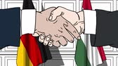 hungria bandera : Businessmen or politicians shake hands against flags of Germany and Hungary. Official meeting or cooperation related cartoon animation