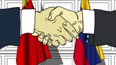 governo : Businessmen or politicians shake hands against flags of China and Venezuela. Official meeting or cooperation related cartoon animation Filmati Stock