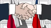 politiker : Businessmen or politicians shake hands against flags of Poland and the Czech Republic. Official meeting or cooperation related cartoon animation Stock Footage
