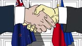 politiker : Businessmen or politicians shake hands against flags of New Zealand and Philippines. Official meeting or cooperation related cartoon animation Stock Footage