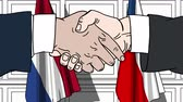オランダ : Businessmen or politicians shake hands against flags of Netherlands and the Czech Republic. Official meeting or cooperation related cartoon animation