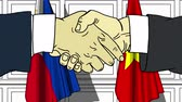 politiker : Businessmen or politicians shake hands against flags of Philippines and Vietnam. Official meeting or cooperation related cartoon animation
