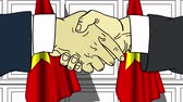 politiker : Businessmen or politicians shake hands against flags of Vietnam. Official meeting or cooperation related cartoon animation