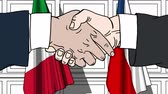 diplomat : Businessmen or politicians shake hands against flags of Italy and the Czech Republic. Official meeting or cooperation related cartoon animation