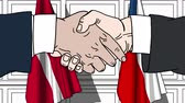 diplomat : Businessmen or politicians shake hands against flags of Denmark and the Czech Republic. Official meeting or cooperation related cartoon animation