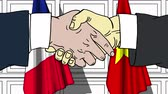 politiker : Businessmen or politicians shake hands against flags of France and Vietnam. Official meeting or cooperation related cartoon animation