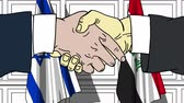 politiker : Businessmen or politicians shake hands against flags of Israel and Iraq. Official meeting or cooperation related cartoon animation