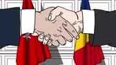 diplomat : Businessmen or politicians shake hands against flags of Turkey and Romania. Official meeting or cooperation related cartoon animation