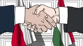 politiker : Businessmen or politicians shake hands against flags of Poland and Hungary. Official meeting or cooperation related cartoon animation