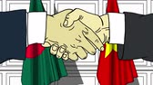 diplomat : Businessmen or politicians shake hands against flags of Bangladesh and Vietnam. Official meeting or cooperation related cartoon animation