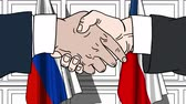 politiker : Businessmen or politicians shake hands against flags of Russia and the Czech Republic. Official meeting or cooperation related cartoon animation