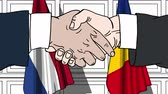 オランダ : Businessmen or politicians shake hands against flags of Netherlands and Romania. Official meeting or cooperation related cartoon animation 動画素材