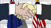 autorità : Businessmen or politicians shake hands against flags of New Zealand and Malaysia. Official meeting or cooperation related cartoon animation Filmati Stock