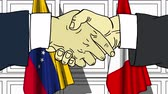 diplomat : Businessmen or politicians shake hands against flags of Venezuela and Peru. Official meeting or cooperation related cartoon animation