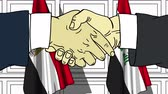 politiker : Businessmen or politicians shake hands against flags of Egypt and Iraq. Official meeting or cooperation related cartoon animation Stock Footage