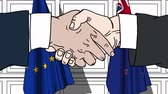 diplomat : Businessmen or politicians shake hands against flags of the European Union EU and New Zealand. Official meeting or cooperation related cartoon animation