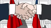 рукопожатие : Businessmen or politicians shake hands against flags of Turkey and the Czech Republic. Official meeting or cooperation related cartoon animation