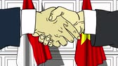diplomat : Businessmen or politicians shake hands against flags of Indonesia and Vietnam. Official meeting or cooperation related cartoon animation