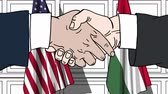 hungria bandera : Businessmen or politicians shake hands against flags of the USA and Hungary. Official meeting or cooperation related cartoon animation