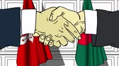 diplomat : Businessmen or politicians shake hands against flags of Hog Kong and Bangladesh. Official meeting or cooperation related cartoon animation