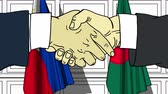 diplomat : Businessmen or politicians shake hands against flags of Philippines and Bangladesh. Official meeting or cooperation related cartoon animation Stock Footage