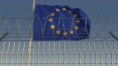 restringido : Defocused waving flag of the European Union EU behind barbed wire fence. Loopable 3D animation