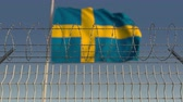 restringido : Barbed wire against waving flag of Sweden. Loopable 3D animation