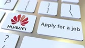 hr : Computer keyboard with HUAWEI logo and Apply for a job text on the keys. Editorial animation Stock Footage