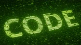 shimmer : Green CODE word made with flying luminescent particles. Information technology related loopable 3D animation