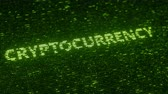 統計 : Green CRYPTOCURRENCY word made with flying luminescent particles. Information technology related loopable 3D animation
