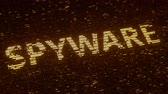 統計 : SPYWARE word made with flying luminescent particles. Information technology related loopable 3D animation 動画素材