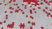 enigma : Flag of China being made with jigsaw puzzle pieces. Chinese problem solution conceptual 3D animation Vídeos