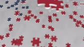 kompliziert : Flag of the Czech Republic being made with jigsaw puzzle pieces. Problem solution conceptual 3D animation