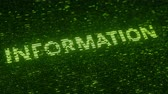 統計 : Green INFORMATION word made with flying luminescent particles. Modern technology related loopable 3D animation