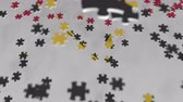 enigma : Flag of Angola being made with jigsaw puzzle pieces. Angolan problem solution conceptual 3D animation