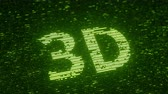 統計 : Green 3D text made with flying luminescent particles. Information technology related loopable animation