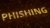 統計 : PHISHING word made with flying luminescent particles. Information technology related loopable 3D animation