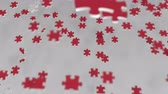coréia : Flag of North Korea being made with jigsaw puzzle pieces. Problem solution conceptual 3D animation Vídeos