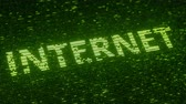 統計 : Green INTERNET word made with flying luminescent particles. Information technology related loopable 3D animation