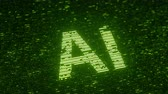 統計 : Green AI or ARTIFICIAL INTELLIGENCE text made with flying luminescent particles. Information technology related loopable animation 動画素材