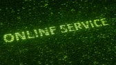 統計 : Green ONLINE SERVICE text made with flying luminescent particles. Information technology related loopable animation