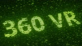 統計 : Green 360 VR text made with flying luminescent particles. Information technology related loopable animation