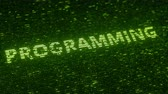 統計 : Green PROGRAMMING word made with flying luminescent particles. Information technology related loopable 3D animation 動画素材