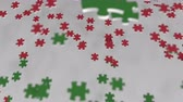 весь : Flag of Oman being made with jigsaw puzzle pieces. Omani problem solution conceptual 3D animation