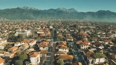 sloping : Low altitude aerial view of luxury villas and streets of Forte dei Marmi, Italy